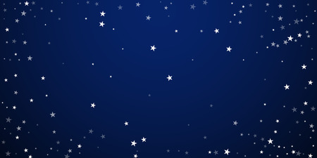Random falling stars Christmas background. Subtle flying snow flakes and stars on dark blue night background. Beautiful winter silver snowflake overlay template. Sightly vector illustration.