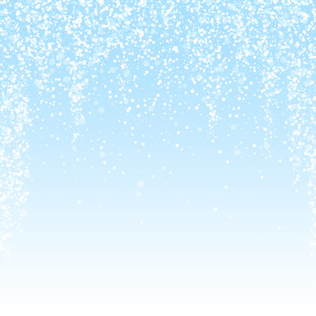 Magic stars Christmas background. Subtle flying snow flakes and stars on winter sky background. Authentic winter silver snowflake overlay template. Ravishing vector illustration.