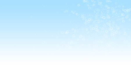 Soap bubbles abstract background. Blowing bubbles on winter sky background. Breathtaking soapy foam overlay template. Enchanting vector illustration.