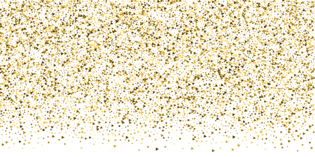 Gold triangles luxury sparkling confetti. Scattered small gold particles on white background. Breathtaking festive overlay template. Shapely vector illustration.