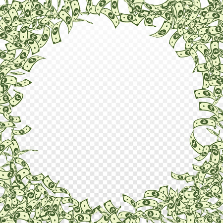 Indian rupee notes falling. Small INR bills on transparent background. India money. Brilliant vector illustration. Perfect jackpot, wealth or success concept.