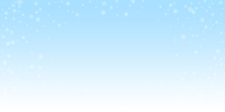 Sparse glowing snow Christmas background. Subtle flying snow flakes and stars on night sky background. Alive winter silver snowflake overlay template. Marvelous vector illustration.
