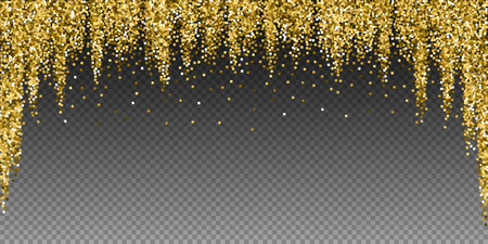 Gold glitter luxury sparkling confetti. Scattered small gold particles on transparent background. Beauteous festive overlay template. Outstanding vector illustration.