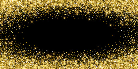 Sparkling gold luxury sparkling confetti. Scattered small gold particles on black background. Alluring festive overlay template. Interesting vector illustration.