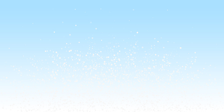 Random white dots Christmas background. Subtle flying snow flakes and stars on winter sky background. Astonishing winter silver snowflake overlay template. Pleasing vector illustration. Ilustração