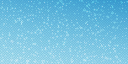 Sparse glowing snow background. Subtle flying snow flakes and stars on transparent blue background. Alive winter silver snowflake overlay template. Bizarre vector illustration.