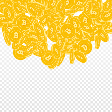 Bitcoin, internet currency coins falling. Scattered big BTC coins on transparent background. Splendid top semicircle square vector illustration. Jackpot or success concept.