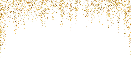 Gold confetti luxury sparkling confetti. Scattered small gold particles on white background. Awesome festive overlay template. Shapely vector illustration.