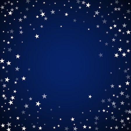 Random falling stars Christmas background. Subtle flying snow flakes and stars on dark blue night background. Amazing winter silver snowflake overlay template. Tempting vector illustration.