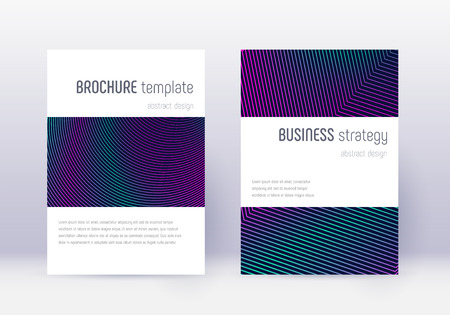 Minimalistic cover design template set. Neon abstract lines on dark blue background. Enchanting cover design. Magnificent catalog, poster, book template etc.