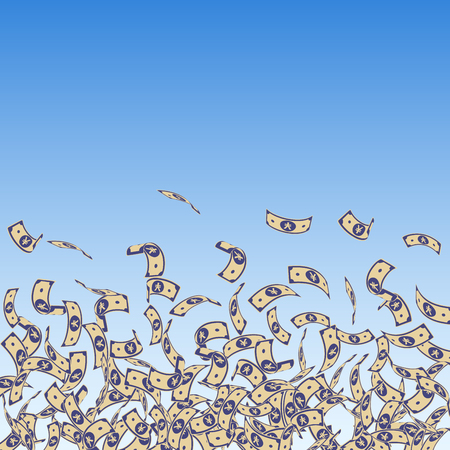 Chinese yuan notes falling. Small CNY bills on blue sky background. China money. Ecstatic vector illustration. Glamorous jackpot, wealth or success concept.