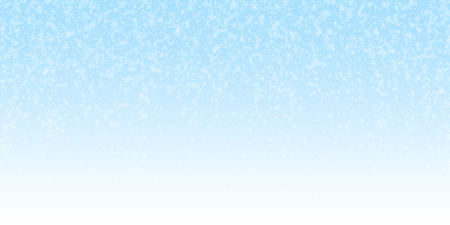 Beautiful glowing snow Christmas background. Subtle flying snow flakes and stars on night sky background. Actual winter silver snowflake overlay template. Comely vector illustration.