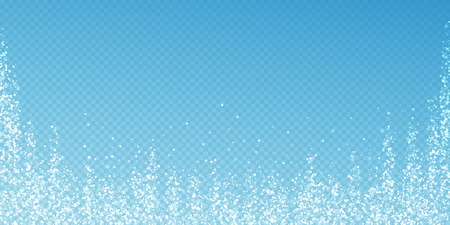 Magic stars Christmas background. Subtle flying snow flakes and stars on transparent blue background. Actual winter silver snowflake overlay template. Splendid vector illustration.