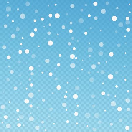 Fondo de Navidad de puntos blancos. Sutiles copos de nieve voladores y estrellas sobre fondo azul transparente. Plantilla de superposición de copo de nieve de plata de invierno vivo. Ilustración de vector fresco.