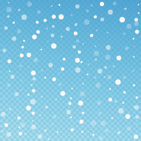 White dots Christmas background. Subtle flying snow flakes and stars on blue transparent background. Alive winter silver snowflake overlay template. Fresh vector illustration.