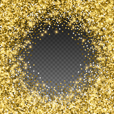Sparkling gold luxury sparkling confetti. Scattered small gold particles on trasparent background. Adorable festive overlay template. Sublime vector illustration.