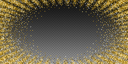 Gold glitter luxury sparkling confetti. Scattered small gold particles on transparent background. Extraordinary festive overlay template. Nice vector illustration.