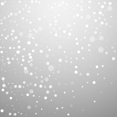 Magic stars random Christmas background. Subtle flying snow flakes and stars on light grey background. Alluring winter silver snowflake overlay template. Unequaled vector illustration.