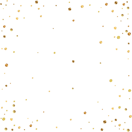 Sparse gold confetti luxury sparkling confetti. Scattered small gold particles on white background. Appealing festive overlay template. Exquisite vector illustration.