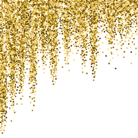 Gold glitter luxury sparkling confetti. Scattered small gold particles on white background. Alive festive overlay template. Favorable vector illustration.