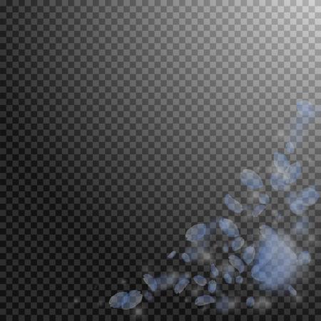 Light blue flower petals falling down. Favorable romantic flowers corner. Flying petal on transparent square background. Love, romance concept. Alive wedding invitation. Ilustrace