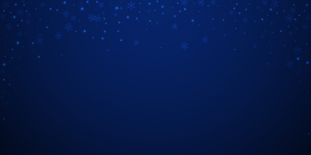 Sparse glowing snow Christmas background. Subtle flying snow flakes and stars on dark blue night background. Attractive winter silver snowflake overlay template. Unequaled vector illustration.