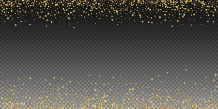 Gold stars luxury sparkling confetti. Scattered small gold particles on transparent background. Artistic festive overlay template. Outstanding vector illustration.
