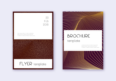 Stylish cover design template set. Gold abstract lines on maroon background. Favorable cover design. Extra catalog, poster, book template etc.
