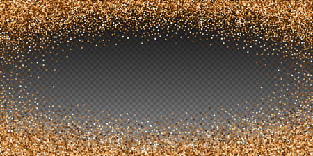Red round gold glitter luxury sparkling confetti. Scattered small gold particles on transparent background. Extraordinary festive overlay template. Gorgeous vector illustration. Vetores
