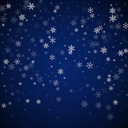 Sparse snowfall Christmas background. Subtle flying snow flakes and stars on dark blue night background. Alluring winter silver snowflake overlay template. Beautiful vector illustration.