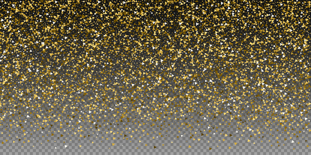 Gold triangles luxury sparkling confetti. Scattered small gold particles on transparent background. Breathtaking festive overlay template. Resplendent vector illustration.