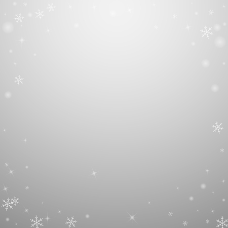 Sparse glowing snow Christmas background. Subtle flying snow flakes and stars on light grey background. Amusing winter silver snowflake overlay template. Likable vector illustration. Illusztráció