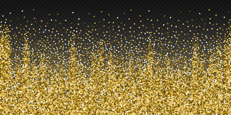 Gold glitter luxury sparkling confetti. Scattered small gold particles on transparent background. Beautiful festive overlay template. Incredible vector illustration.