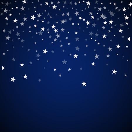 Random falling stars Christmas background. Subtle flying snow flakes and stars on dark blue night background. Alive winter silver snowflake overlay template. Optimal vector illustration. Ilustração