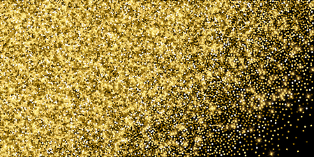 Sparkling gold luxury sparkling confetti. Scattered small gold particles on black background. Alluring festive overlay template. Enchanting vector illustration.
