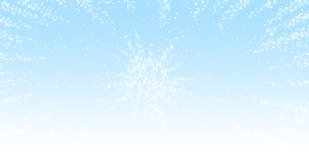 Magic stars Christmas background. Subtle flying snow flakes and stars on winter sky background. Appealing winter silver snowflake overlay template. Wondrous vector illustration.