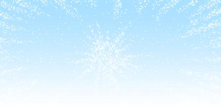 Magiczne gwiazdki Boże Narodzenie tło. Subtelne latające płatki śniegu i gwiazdy na tle zimowego nieba. Atrakcyjny szablon nakładki srebrny śnieżynka zima. Cudowna ilustracja wektorowa.