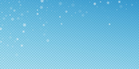 Sparse snowfall Christmas background. Subtle flying snow flakes and stars on blue transparent background. Authentic winter silver snowflake overlay template. Surprising vector illustration.