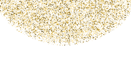 Gold triangles luxury sparkling confetti. Scattered small gold particles on white background. Captivating festive overlay template. Overwhelming vector illustration. Illusztráció