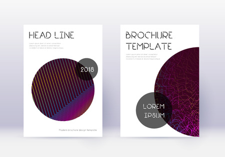 Trendy cover design template set. Rainbow abstract lines on wine red background. Glamorous cover design. Shapely catalog, poster, book template etc.
