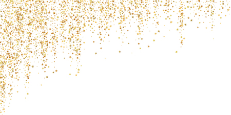 Gold stars luxury sparkling confetti. Scattered small gold particles on white background. Bewitching festive overlay template. Favorable vector illustration.