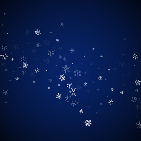 Sparse snowfall Christmas background. Subtle flying snow flakes and stars on dark blue night background. Bizarre winter silver snowflake overlay template. Radiant vector illustration.