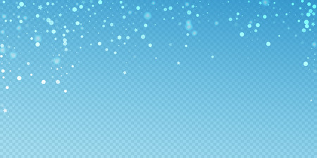 Magic stars random Christmas background. Subtle flying snow flakes and stars on blue transparent background. Awesome winter silver snowflake overlay template. Favorable vector illustration.
