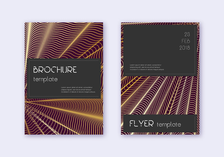 Black cover design template set. Gold abstract lines on maroon background. Alluring cover design. Fair catalog, poster, book template etc. Illusztráció