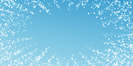 Beautiful falling snow Christmas background. Subtle flying snow flakes and stars on transparent blue background. Alive winter silver snowflake overlay template. Incredible vector illustration. Ilustração