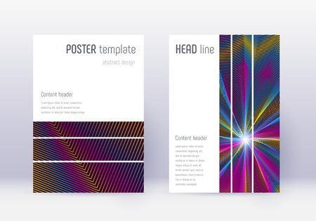 Geometric cover design template set. Rainbow abstract lines on wine red background. Bizarre cover design. Favorable catalog, poster, book template etc. Ilustrace