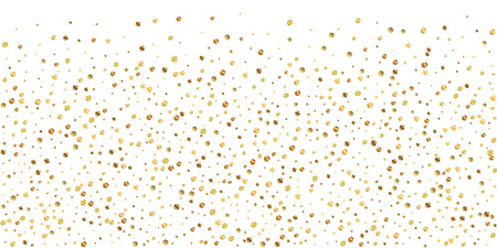 Sparse gold confetti luxury sparkling confetti. Scattered small gold particles on white background. Brilliant festive overlay template. Uncommon vector illustration.