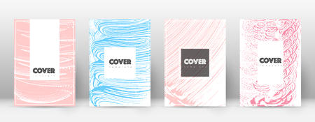 Cover page design template. Hipster brochure layout. Brilliant trendy abstract cover page. Pink and blue grunge texture background. Unequaled poster.