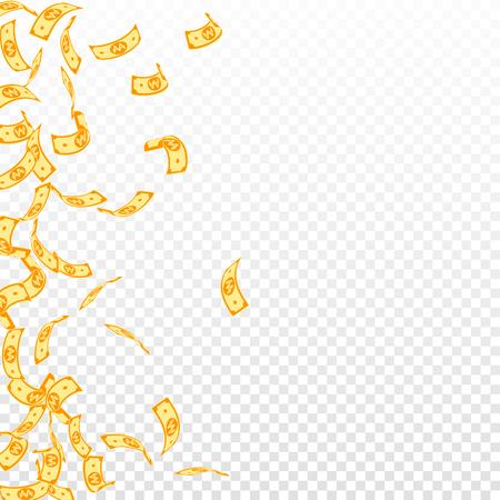 Korean won notes falling. Sparse WON bills on transparent background. Korea money. Decent vector illustration. Marvelous jackpot, wealth or success concept. 일러스트