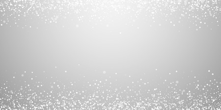 Magic stars sparse Christmas background. Subtle flying snow flakes and stars on light grey background. Amusing winter silver snowflake overlay template. Splendid vector illustration.